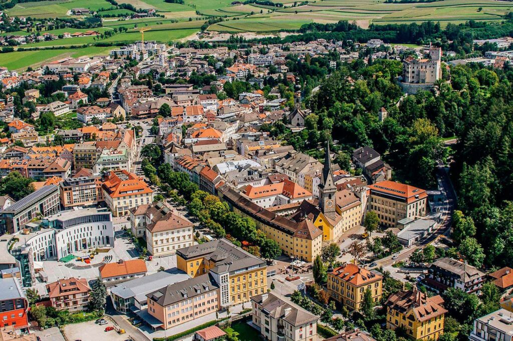 Brunico Val Pusteria old town South Tyrol Ripa historical center aerial view